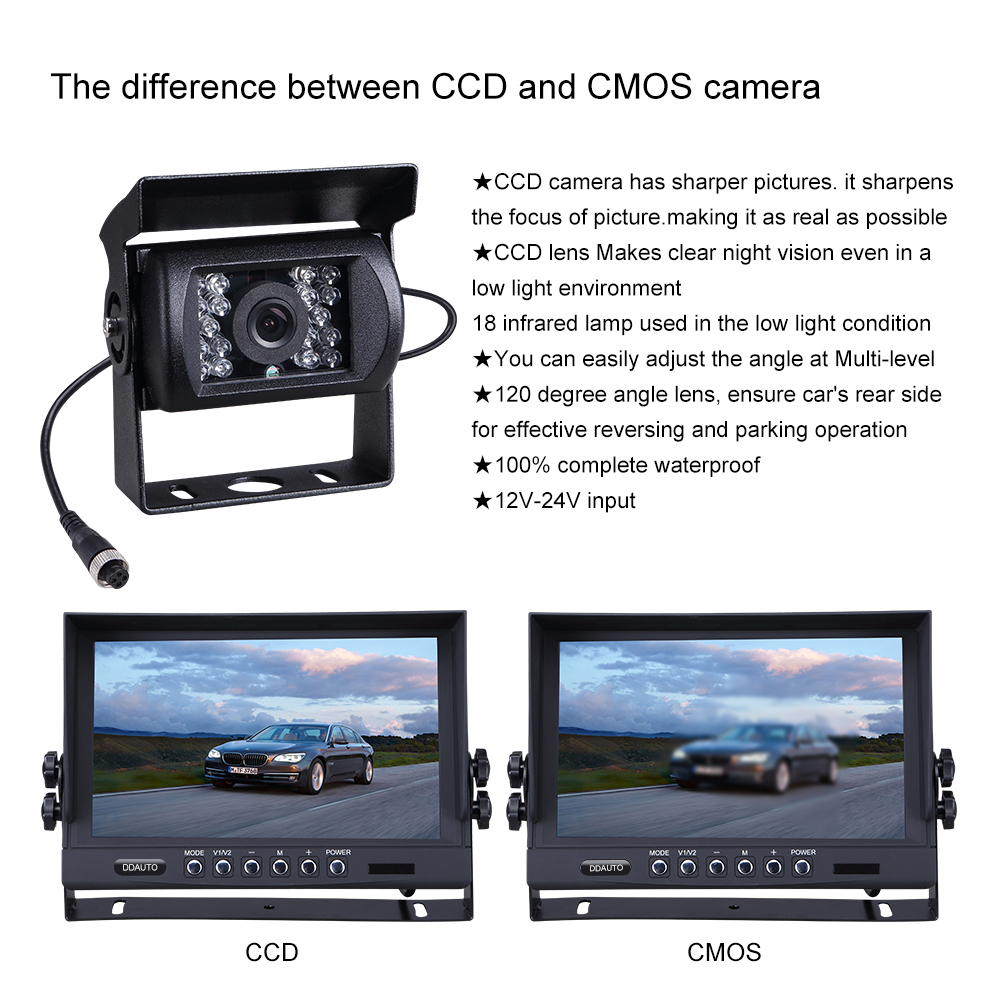 Truck Bus Backup Camera And Monitor Kit With 9 Inch Digital Lcd Ir Light Dimmer V1 1209bpackage 1209bdisplay V2